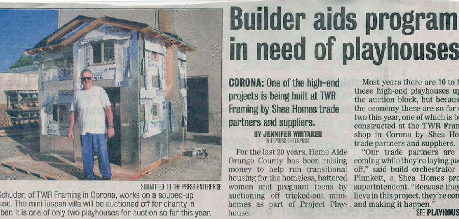 Newspaper clipping - Builder aids program in need of playhouses