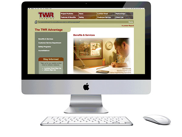 Mac with screen shot of the TWR website